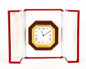Les Must de Cartier Paris Cased Maroon & Gilt Desk Alarm Clock C1990