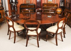 Vintage 7ft 4& 34 Diamete Tillman Jupe Dining Table 20thC & 10 dining Chairs