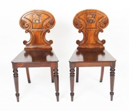 Antique Pair of Victorian Mahogany Hall Chairs 19th Century