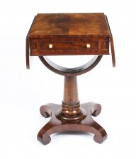 Antique William IV Flame Mahogany Drop Leaf Work Table 19th Century