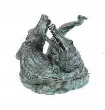 Bronze Garden Statue of Two Crocodiles Alligators Late 20th Century