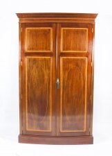 Antique Mahogany Bow Fronted Two Door Wardrobe by Maple & Co 19th C