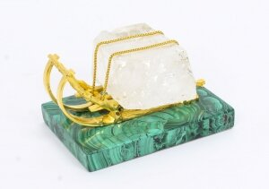 Antique Russian Gilt Bronze Malachite Rock Crystal Sleigh Sculpture C 1870