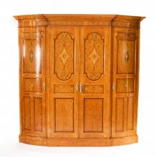 Antique Victorian English Satinwood & Tulipwood Wardrobe 19th C