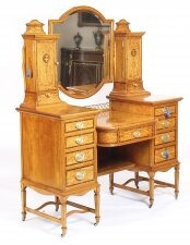 Antique Victorian English Satinwood & Tulipwood Inlaid Dressing Table 19th C