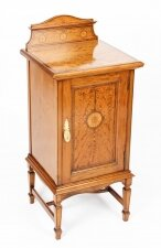 Antique Victorian Satinwood & Inlaid Bedside Cabinet 19th Century