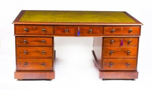 Antique George IV Flame Mahogany Partners Pedestal Desk 19th Century