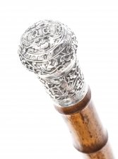 Antique Chinese Silver Walking Stick Cane C1880 19th Century