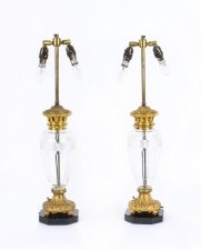 Antique Pair of French Ormolu & Glass Table Lamps with Marble Bases Circa 1900