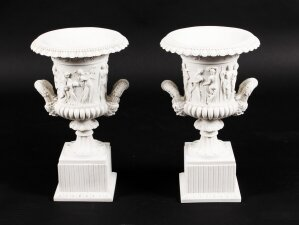 Pair of Neo Classical Revival Composite Marble Urns Borghese Vase Late 20th C.