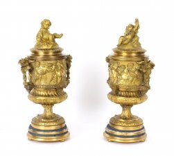 Antique French Pair Two Tone Gilt Bronze Lidded Urns with Cherub Finials 19th C