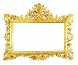 Antique Large English Carved Giltwood Overmantel Mirror 120x143cm
