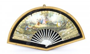 Antique French Framed Mother Pearl Hand Painted Fan Late 18th Century