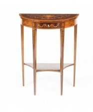Antique Regency Revival Marquetry Demi Lune Console Table 19th C