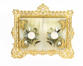 Antique Victorian Ormolu Hardstone Double Portrait Miniature Photo Frame 19th C