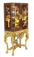 Antique Chinoiserie Lacquer Cabinet Giltwood Stand Dry Bar Cocktail 19th C