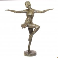 Vintage Art Deco Bronze Sculpture of Semi Nude Dancing Lady Late 20th C