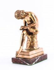 Antique Rose Gold Patinated Bronze Figure of Boy with Thorn Spinario 19th C