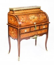 Antique French Louis XV Revival Marquetry Bureau 19th Century