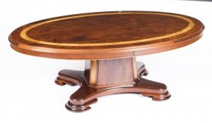 Vintage Flame Mahogany Oval Coffee Table by Charles Barr 20th C