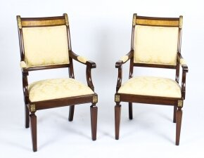 Vintage Pair Empire Revival Mahogany & Ormolu Armchairs by Charles Barr 20th C
