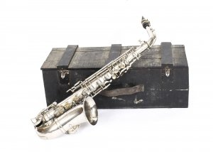 Antique French Silver Plated Saxophone with Playing Booklet Couesnon et Cie 1929