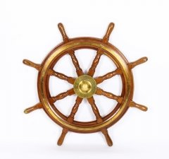 Antique Large 95 cm Oak and Brass Set 8 Spoke Ships Wheel C 1880 19th Century