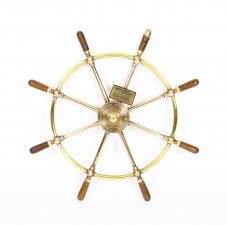 Mid Century 8 Spoke Brass & Walnut Ships Wheel HMS Whitby Brown Bros