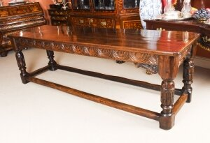 Antique 8ft 6& 34 English Jacobean Oak Refectory Dining Table 17th Century
