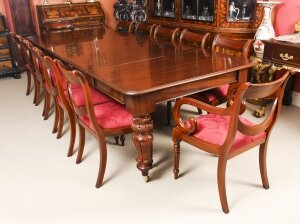 Antique William IV Mahogany Dining Table 19th C & 12 Swag Back Dining Chairs