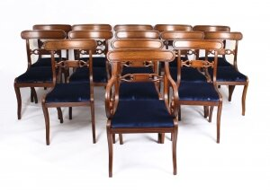 Antique Set 14 Regency Mahogany Dining Chairs 19th Century C1820