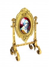 Antique French Ormolu & Limoges Enamel Table Mirror F.Bienvue 19th C