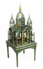 Vintage Monumental Mahogany Sacre Coeur Cathedral Bird Cage on Stand 20th C