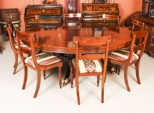 Bespoke 7ft Regency Flame Mahogany Jupe Dining Table & 8 chairs 21st C