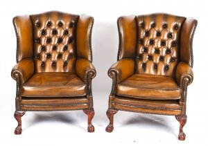 Antique Pair Leather Chippendale Wingback Armchairs