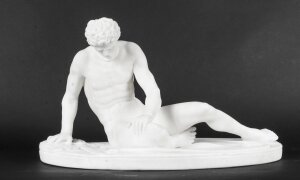 Antique Italian Grand Tour Alabaster Sculpture of The Dying Gaul Ca 1860 19th C