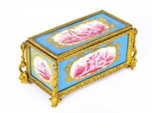 Antique French Sevres Porcelain and Ormolu Jewellery Casket C1870 19th C