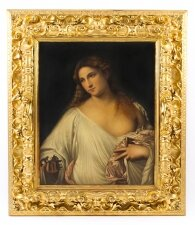 Antique Oil Painting of Flora after Titian in Florentine Giltwood Frame 19th C