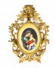 Antique Porcelain Plaque & 34 Madonna Della Sedia& 34 Florentine Frame C1870 19th C