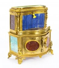 Antique Specimen Precious Hard Stone & Ormolu Mounted Jewellery Cabinet 19th C