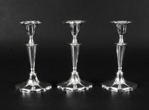 Antique Set of 3 Sterling Silver Candlesticks William Gibson & John Langman 1895