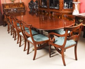 Vintage Regency Revival Dining Table by William Tillman & 12 chairs 20th C