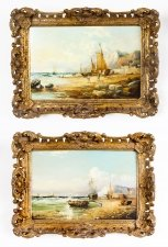Antique Pair Seascape Paintings by John James Wilson 19th Century