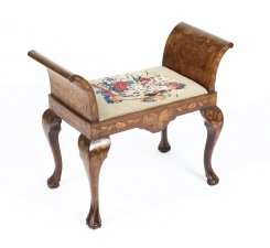 Antique Dutch Floral Marquetry Mahogany Stool C1820 19th Century