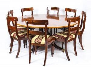 Vintage 5ft 6& 34 diameter Regency Revival Dining Table & 8 chairs 20th C