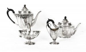 Antique Silver plated cased Tea Set Walker & Hall, Sheffield c 1860 19th C