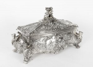 Antique German WMF Silver Plated Casket Jewellery Box C1890