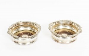 Antique Pair Old Sheffield Silver Plated Wine Coasters C1825 19th Century