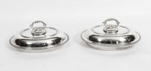 Antique Pair Oval Entree Dishes Tureens & Covers 19th Century
