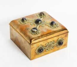 Antique Brass & Agate Gaming Box Edinburgh C1850 19th C